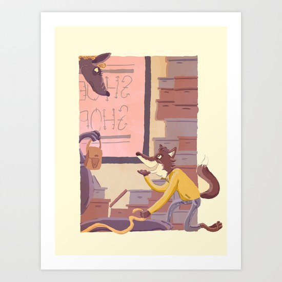 fox on the job - 2 Art Print