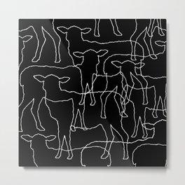 Sheeps - White graphic on black Metal Print