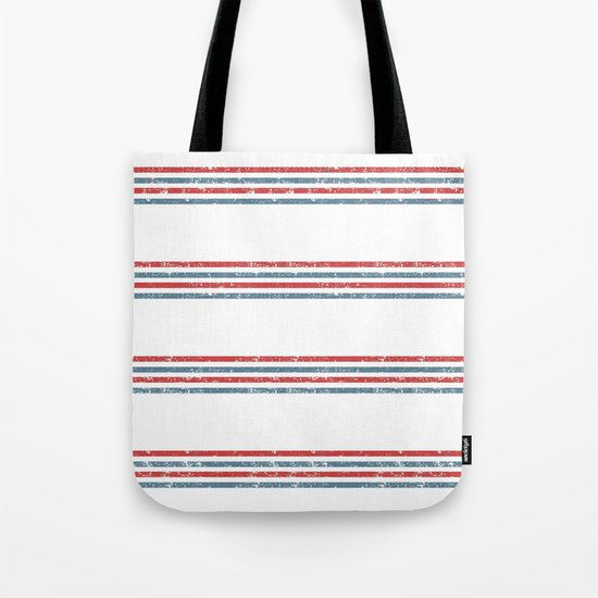 Maritime Beach Pattern- Red and Blue Stripes on White- Horizontal #Society6 Tote Bag