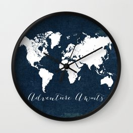 Navy Adventure Awaits Map Wall Clock
