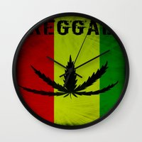 reggae Wall Clocks featuring REGGAE by shannon's art space