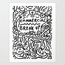 Commercial Break Up Black and White Graffiti by Emmanuel Signorino Art Print
