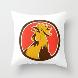 Chicken Rooster Crowing Circle Retro Throw Pillow