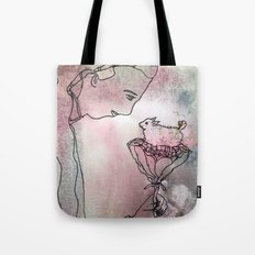 girl and lamb Tote Bag