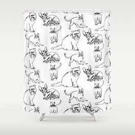 Minimal Black Line Cat Pattern Shower Curtain