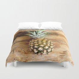 Pineapple on woodgrain Duvet Cover