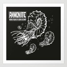 ammonite black Art Print