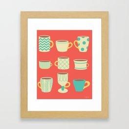Retro Cups Framed Art Print