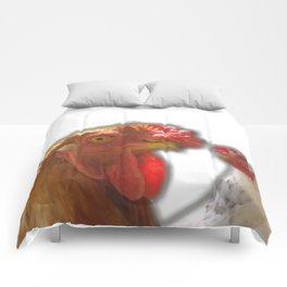 Rooseter and chiken~ happy couple Comforters