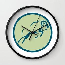 Mountain Sheep Jumping Circle Icon Wall Clock