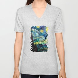 Tardis Art Starry Painting Night Unisex V-Neck