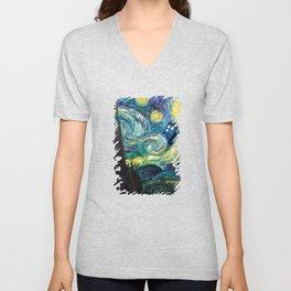 Tardis Art Starry Painting Night Unisex V-Neck