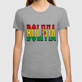 Bolivia Font With Bolivian Flag T-shirt