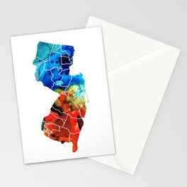 New Jersey - State Map By Sharon Cummings Stationery Cards
