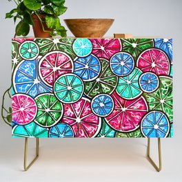 Citruses, Oranges, Lemons, Limes. Watercolor pattern Credenza