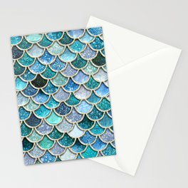 Multicolor Aqua Mermaid Scales - Beautiful Abstract Glitter Pattern Stationery Cards