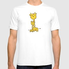 Giraffe Hugs Mens Fitted Tee White SMALL