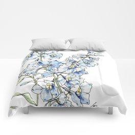 Blue Delphinium Flowers Comforters