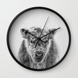 Fluffy Cow - Black & White Wall Clock