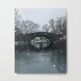 Snowfall in Central Park New York Metal Print