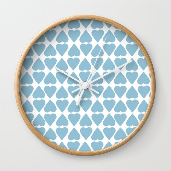Diamond Hearts Repeat Blue Wall Clock