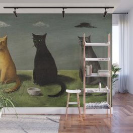 Three Cats with Clouds That Follow Them Everywhere by Gertrude Abercrombie Wall Mural