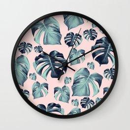 Tropical Monstera Pattern #1 #tropical #decor #art #society6 Wall Clock