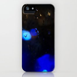 An abstract background with night lights and raindrops. iPhone Case