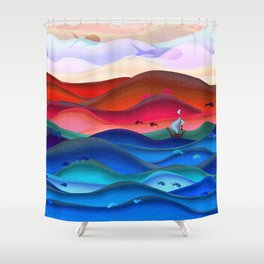 Blue ocean red mountains Shower Curtain