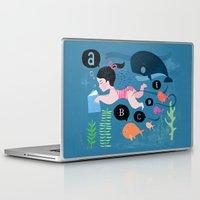 swimming Laptop & iPad Skins featuring Swimming by Sugar Snap Studio