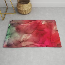 Red Pink Magenta Flow Abstract Ink Painting Rug