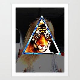 Girl behind the Tiger Art Print