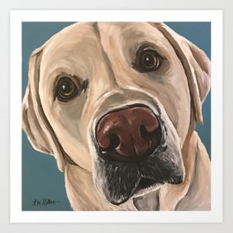 Yellow Lab Painting, Upclose Dog Art Art Print