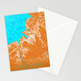 Port Louis, Mauritius, Gold, Blue, City, Map Stationery Cards