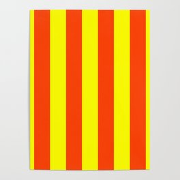 Bright Neon Orange and Yellow Vertical Cabana Tent Stripes Poster
