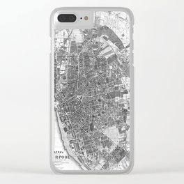 Vintage Map of Liverpool England (1890) BW Clear iPhone Case