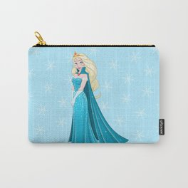 Snow Princess In Blue Dress Side Carry-All Pouch