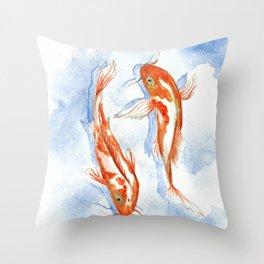 Koi Fish Love Throw Pillow
