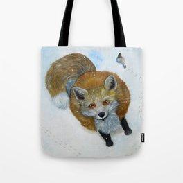 Fox and Chickadee Tote Bag