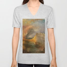 "J. M. W. Turner ""The Burning of the Houses of Lords and Commons""(1834) Unisex V-Neck"