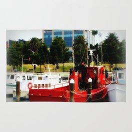 Little red tug Boat Rug
