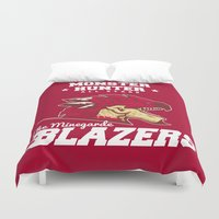 monster hunter Duvet Covers featuring Monster Hunter All Stars - The Minegarde Blazers by Bleached ink