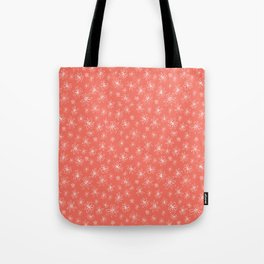 Loopy Flowers - white on coral Tote Bag