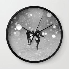 Snow in winter Wall Clock