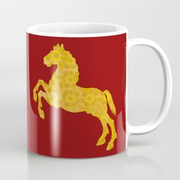 7 Petal Golden Lotus Horse For Chinese New Year of The Horse Coffee Mug