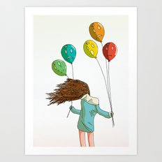 Baloons on wind Art Print