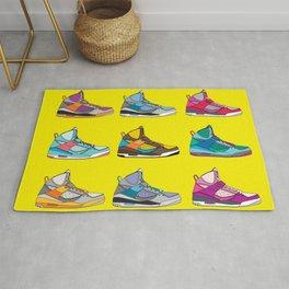 Colorful Sneaker set yellow illustration original pop art graphic print Rug