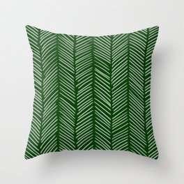 Forest Green Herringbone Throw Pillow