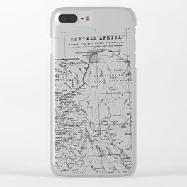 Black And White Vintage Map Of Africa Clear iPhone Case