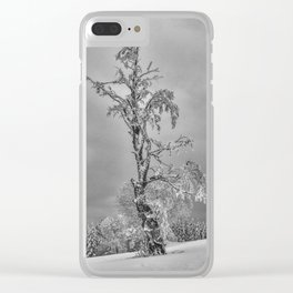 Solitary Snowy Tree in Black and White - Landscape Photography Clear iPhone Case